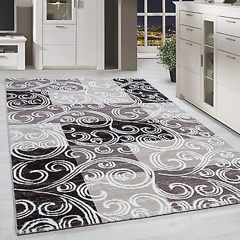 Kort stapel design matta patchwork ser tribal mönster grå brun beige fläckig