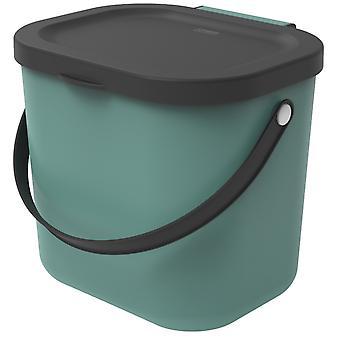 ROTHO Recycling Müllsystem ALBULA 6 l Dunkelgrün | Komposteimer für mehr Nachhaltigkeit im Haushalt