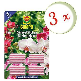 Sparset: 3 x palitos de fertilizante COMPO para orquídeas, 20 peças