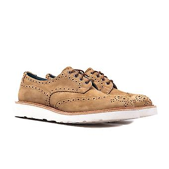 Tricker's Bourton Peanut Kudu Reverse Suede Derby Brogue Shoes