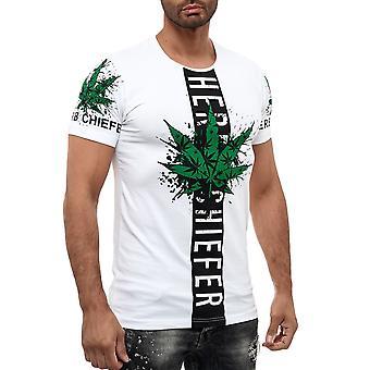 Herren Rundhals T-Shirt Weed Marihuana Design Cannabis Hanf Print GANJA Gras