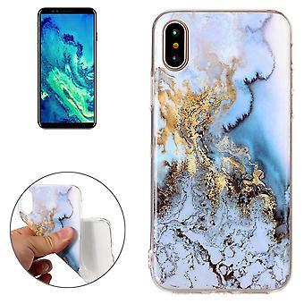 Para iPhone XS,X Caixa traseira, capa protetora durável de alta qualidade de mármore, azul