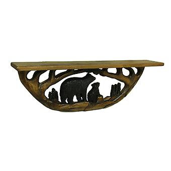 Bear Family in the Woods Hand Crafted Wooden Wall Shelf