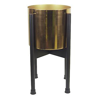 Medium Black Stand with Gold Metal Planter 38.5cm x 18cm