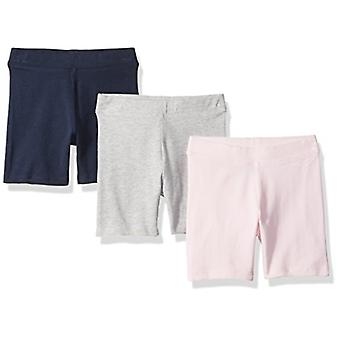 Essentials Toddler Girls' 3-Pack Cart-Wheel Short, Navy/Heather Grey/L...