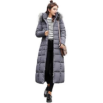 Womens Faux Fur Trim Hooded Gewatteerde Maxi Parka Winterjas