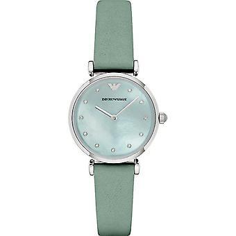 Emporio Armani AR1959 Retro Sea Blue Mother Of Pearl Dial Dames Horloge
