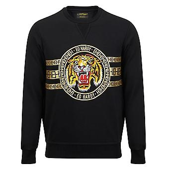 Ed Hardy | Tiger Stripe Crew Sweat Top - Black