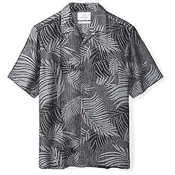 28 Palms Men's Relaxed-Fit Silk/Linen Tropical Leaves Jacquard Shirt, Black, ...