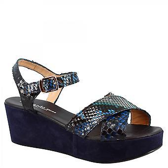 Leonardo Scarpe Donna's zeppe fatte a mano sandali in camoscio blu e pelle di pitone con fibbia