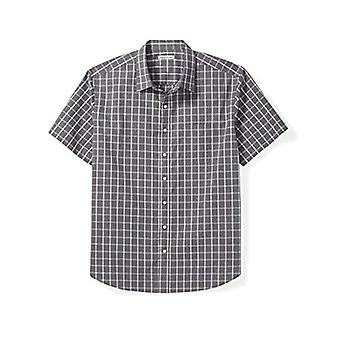 Essentials Men's Big & Tall Short-Sleeve Plaid Shirt fit by DXL, Gray ...