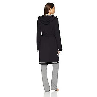 Marke - Mae Women's Französisch Terry Wrap Robe mit Kapuze, schwarz, klein