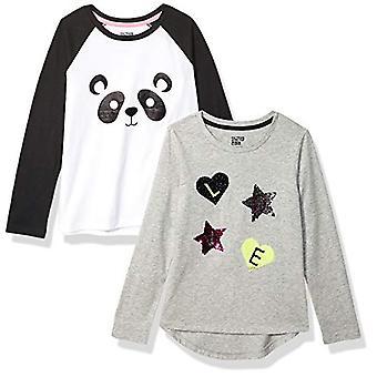 Marke - Spotted Zebra Girl's 2-Pack Long-Sleeve Neuheit T-Shirts, Pand...