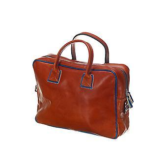 Leather Laptop Bag - The Sleeve Plus - Cognac/Blue