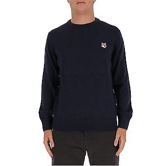 Maison Kitsuné Fm00528kt1036in Men's Blue Wool Sweater