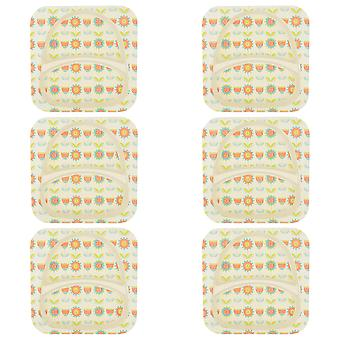 Tiny Dining Children's Bamboo Fibre Dining Plate - Flower - Pack of 6