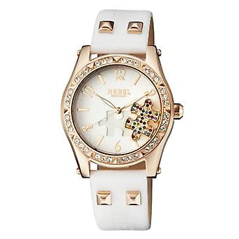 Rebel Women-apos;s RB111-8021 Gravesend Crystals Puzzel-Piece Dial Leather Watch