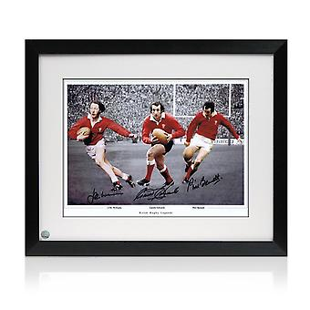 Wales Rugby Photo Signed By Edwards, Williams And Bennett. Framed