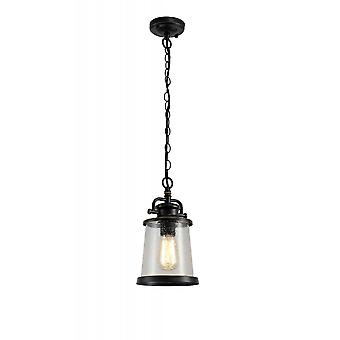 Charlotte Pendant, 1 X E27, Black/gold With Seeded Clear Glass, Ip54, 2yrs Warranty