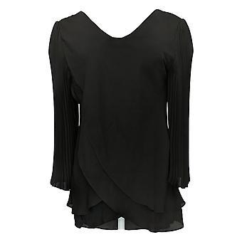 Laurie Felt Women's Top Reversible Pleated Sleeve Blouse Black A379346