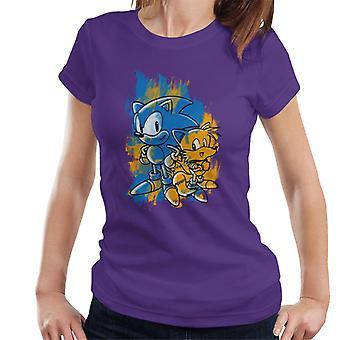 Sonic Siili ja hännät Siveltimenveto Naisten't-paita