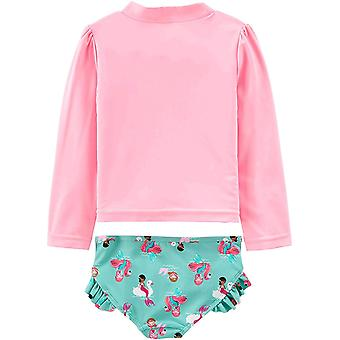 Simple Joys by Carter's Girls' 2-Piece Rashguard Set, Pink Mermaid, 18 Months
