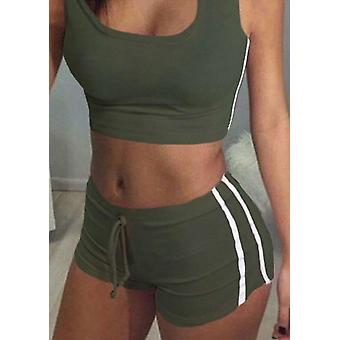 Sexy Women 2pcs Yoga Set- Femme Sleeveless Tank Top Bra, Fitness Shorts,