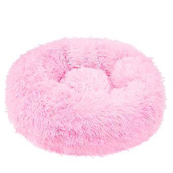 Ronde hondenmand 100 cm - roze pluche