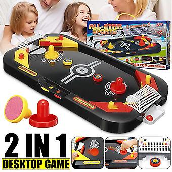 Mini Desktop Battle 2 in 1 Ice Air Hockey Game Table Desktop Battle Hockey Game Children's Educational Interactive Toy Kids Gift