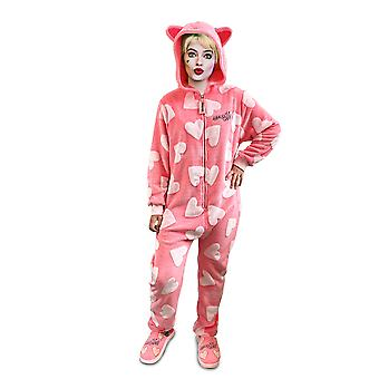 DC Comics Harley Quinn Birds of Prey Cosy Heart Pattern Pink Jumpsuit Onesie Loungewear Adult One Size
