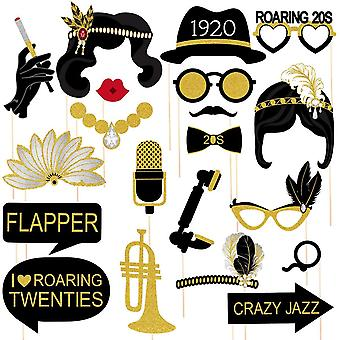 Amosfun 1920s party photo booth props roaring 20s party photo posing props glitter paper card stock