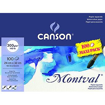 Canson montval 300gsm watercolour practice paper pad including 100 sheets, size:24x32cm, natural whi