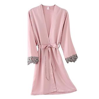 Frauen Dressing Kleid Bademantel Kimono Seide Bademantel Schlaf Lounge