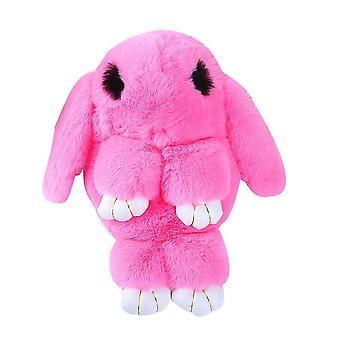Fluffy Rabbit Fur Pompoms Chain Bag, Women Cartoon Sling Bunny Shoulder Plush