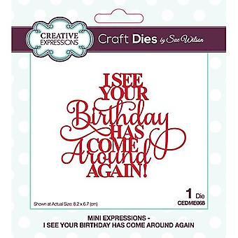 Creative Expressions Mini Expressions Collectie Cutting Dies - I See Your Birthday Has Come Around Again