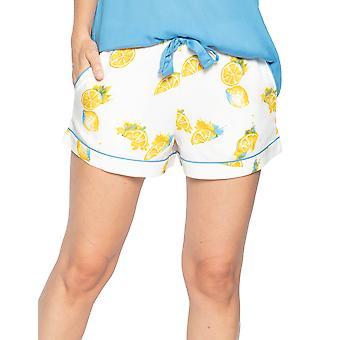 Cyberjammies Phoebe 4819 Women's White Lemon Motif Modal Pyjama Short