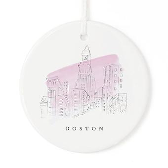 Boston Watercolor City Space Ornament