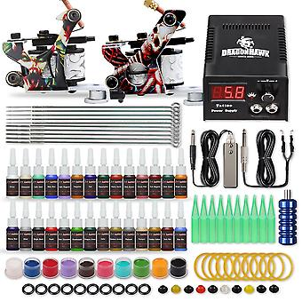 Complete Beginner Tattoo Kit Supplies Equipment Set, Coils Machine Guns, Ink