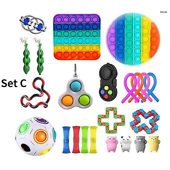 Sensorische Fidget Speelgoed Bundel Stress Relief Met Fidget Hand Toys Regenboog kleur Push Bubble Cube Unzip Ball Fidget Spinner Magic Bean Toys