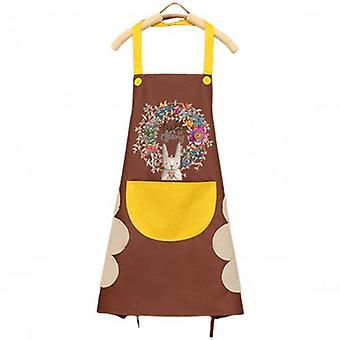 Apron, Wipeable Waterproof Oil-proof Cartoon Wreath Rabbit Kitchen/ Nail Shop