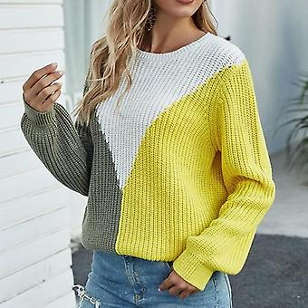 Long Sleeve Knitted Patchwork Hit Color Sweater Pullover