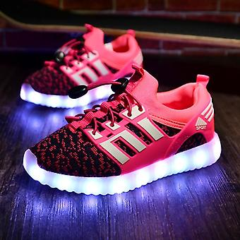 Kids Usb Luminous Sneakers, Glowing, Lights Up Shoes With Led Slippers,