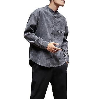 Yunyun Men's Vogue Casual Long-sleeve Band-collar Buttons Shirt