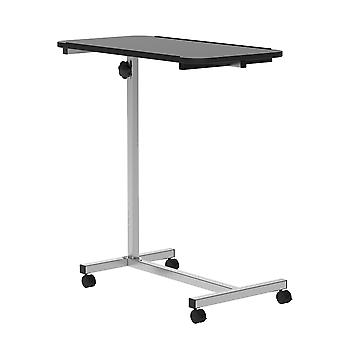 HOMCOM Portable Overbed/Chair Table Sofa Side Notebook Laptop Desk PC Stand Height Adjustable w/ Lockable 4 Castors & Wooden Top - Black