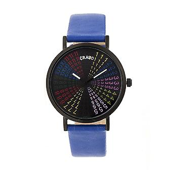 Crayo Fortune Black Dial Navy Leatherette Watch CRACR4308