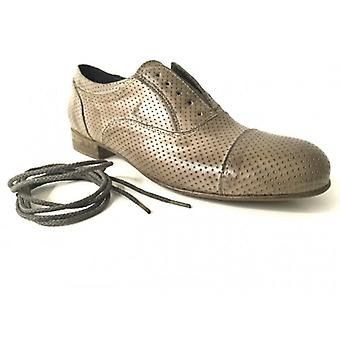 Shoes Woman Gas N. Barbato Scamiciata Francesina Skin Perforated Mud Ds15nb03