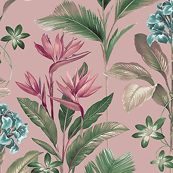 Oliana Floral Wallpaper Pink Belgravia 8485