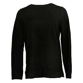 عناق دودس المرأة & ق أعلى ملابس الراحة طاقم الرقبة Pullover الأسود A381597