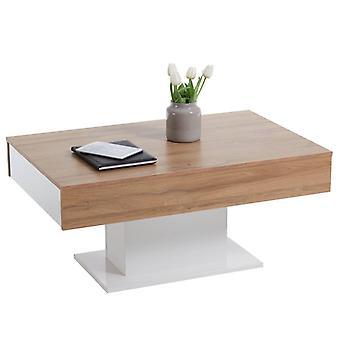 TABLE BASSE FMD Chêne antique et blanc