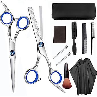 Hairdressing Scissors Kit Stainless Steel Barber Scissors Tail Comb Hair Cloak Hair Cut Comb Styling Tool Kit